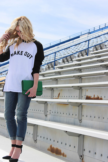 Chandler Roberson - Asos Make Out Tee, American Eagle Boyfriend Jeans, Target Clutch, Gojane Pumps - Make Out Tee