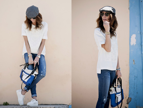 Kiara Schwartz - Greylin Top, Dittos Denim, Pietro Alessandro Bag, Lacoste Sneakers - Feeling Blue add White