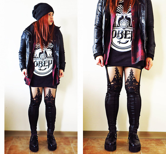 Jade Narcelles - Obey Black Shirt, Garage Leather Jacket, Creepers, Plaid Shirt - The Willing Well