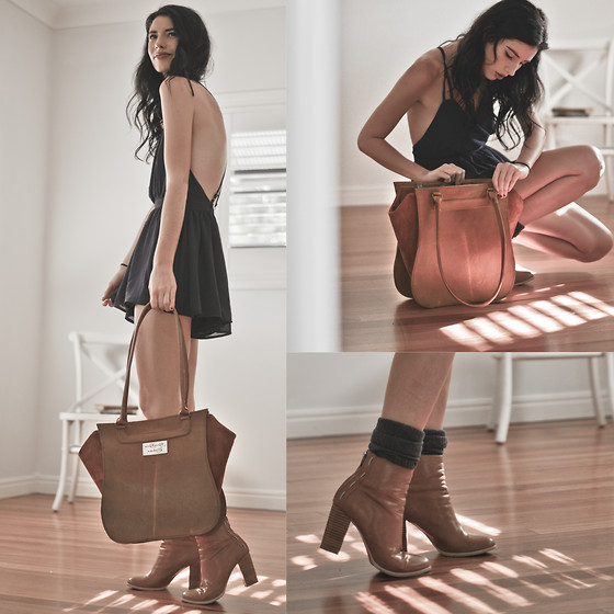 Elle-May Leckenby - Beara Silvia Handbag, Tan Stitched Ankle Boots - Weekend away