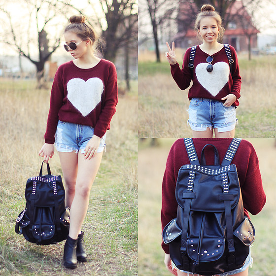 Wioletta Mary Kate - Sheinside Sweater, Levi's® Shorts, Modekungen Backpack - Love Friday! 28.03