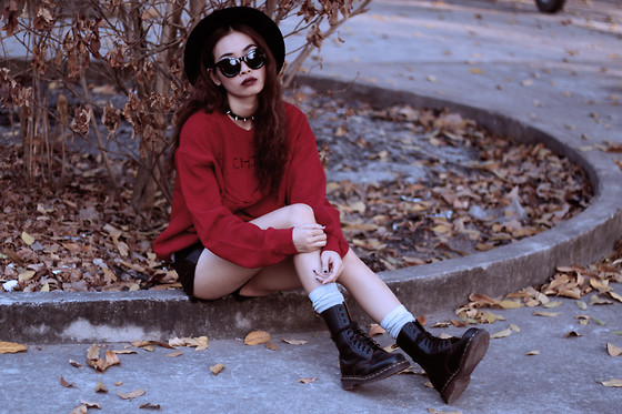 Vu Thien - Miloh Clothing Sweatshirt, Thrift Store Leather Shorts, Dr. Martens Vintage 1490 Boots - CHILL
