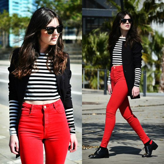 Laura Views - Zara Jeans, Asos Shoes, Zara Top, H&M Blazer, Ray Ban Sunnies - Dashes of Red II