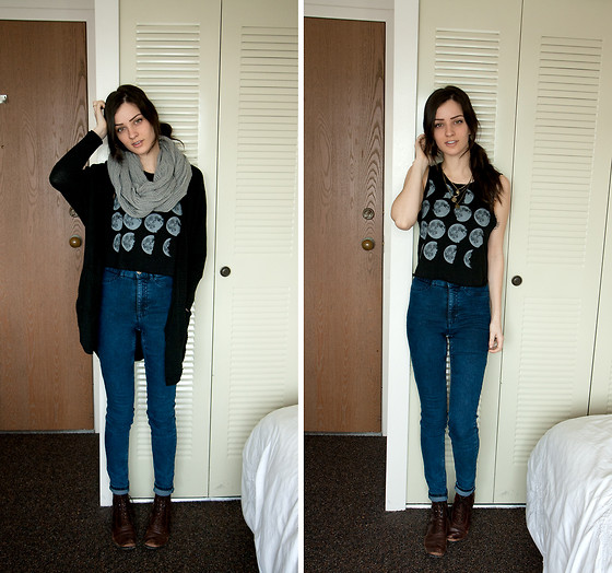 Kassy D - Man+Woman Infinity Scarf, American Eagle Cardigan, H&M High Waist Denim, Vintage Lace Up Boots - Sunday Funday