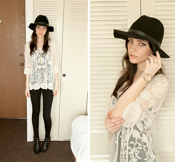 Kassy D - Urban Behaviour Lace Top, Forever 21 Shoes, H&M Hat, Asos Watch - Leather, Leggings and Lace