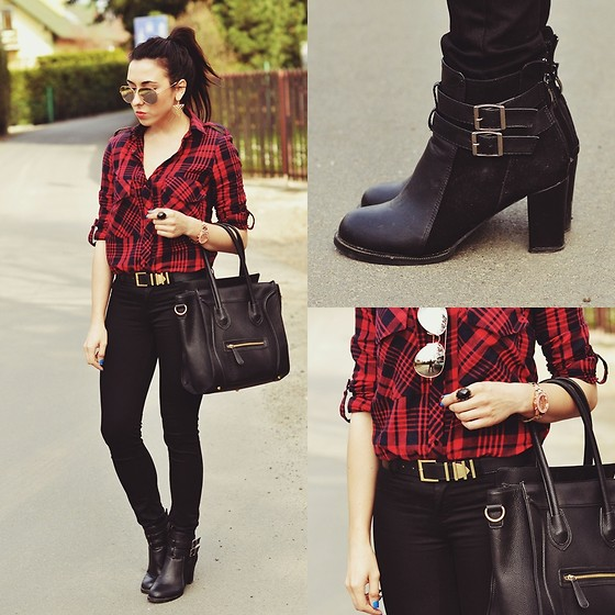 Pam S - Sheinside Shirt, Persun Boots, Persun Bag, H&M Pants - Plaid shirt