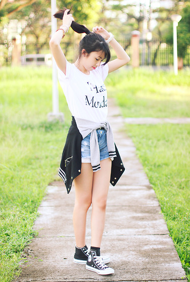 Sophie Ramos - Thrift Apparel Mnl Top, Converse Sneakers - I hate mondays