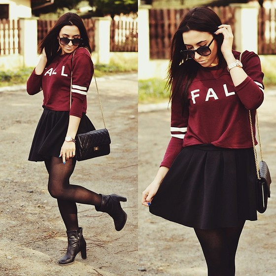 Pam S - Persun Sweatshirt, Bershka Skirt, Persun Bag - Burgundy love