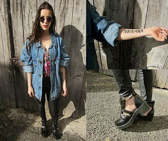 Pretty-Roxanne Stratmains ☥ - Cookers Blue Jeans Jacket, Dim Smili Leather Legging, River Island Ankle Boots - NIRVANA FOREVER!