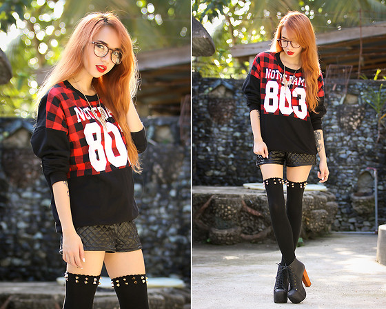 Wicked Ying NEW - Oasap Plaid Sweater, Oasap Spike Socks, Rarelove Gold Necklace - Supermassive Black Hole