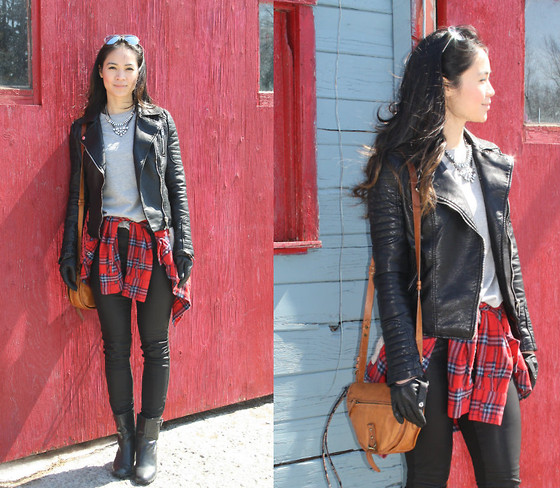 Tweety Ho - Zara Leather Jacket, Asos Grey T Shirts, Forever 21 Faux Leather Pants, Anne Klein Booties, Tommy Hilfiger Sachel - Lumberjack chic