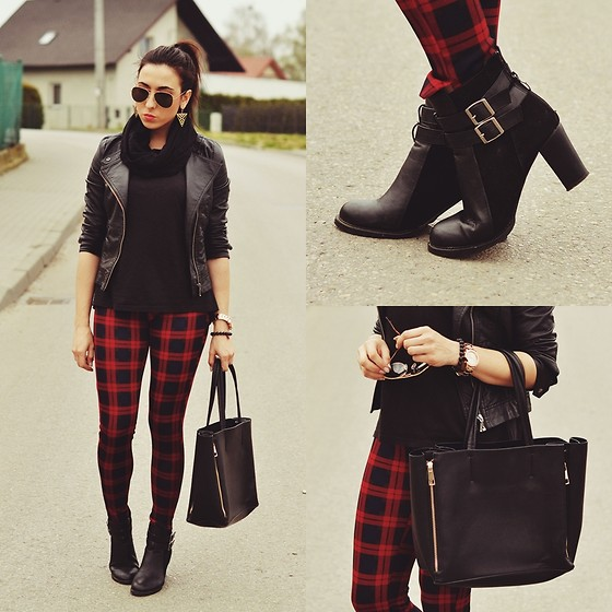 Pam S - Zara Jacket, 6ks Pants, Chic Wish Bag - Red plaid