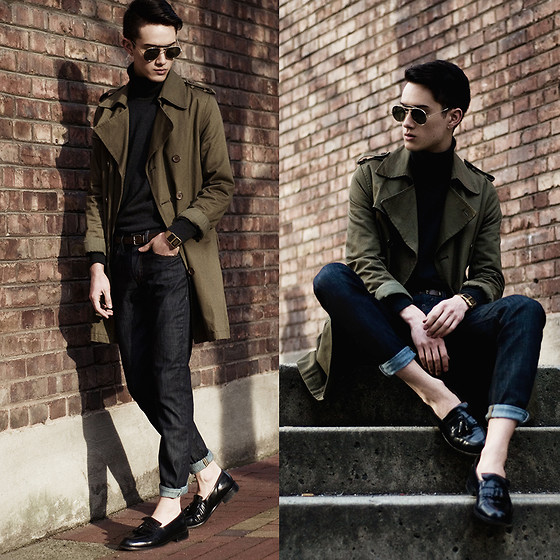 Nigel Lew - Levi's® 511™ Slim Fit Jeans, Vintage Trenchcoat, Vintage Leather Loafers, Vintage Glasses - #Equipped: Levi's x The Honest Romantic