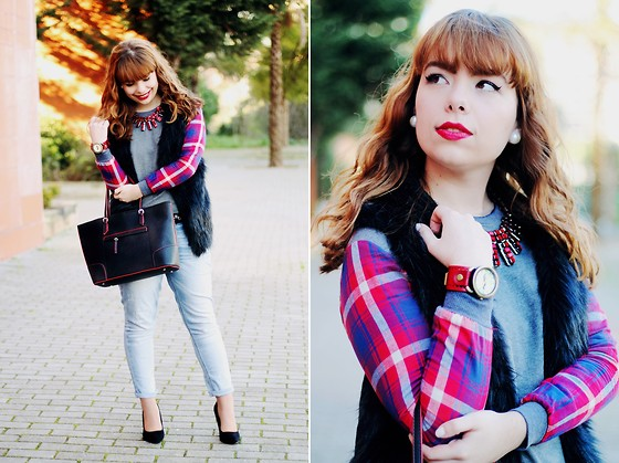 Ester Durães - Romwe Fake Fur Vest, Banggood Shirt, Imagens Da Dapi Necklace, Born Pretty Store Watch, Mango Bag, Lanidor Jeans, Primark Heels - Brick Red
