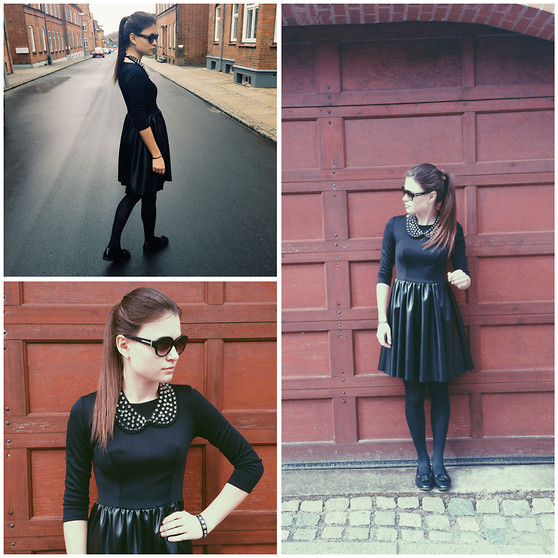 Diana Dolci - Diesel Black Dress, Asos Collar, Charles And Keith Sunglasses, Massimo Dutti Loafers, Zara Bracelet - Totally Black!