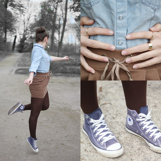 Axelle et ses caprices - Promod Denim Shirt With Baroque Print, Bershka Rings, Converse Navy Blue Converses, Eurodif Brown Tights, Stradivarius Skirt, Asos Earrings - Back to Converse, Back to Denim, Back to Spring