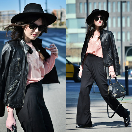 Laura Views - In Love With Fashion Pants, See By Chloé Bag, Pull & Bear Jacket, Ray Ban Sunnies, Vintage Blouse - Pink Pale and Palazzo Pants