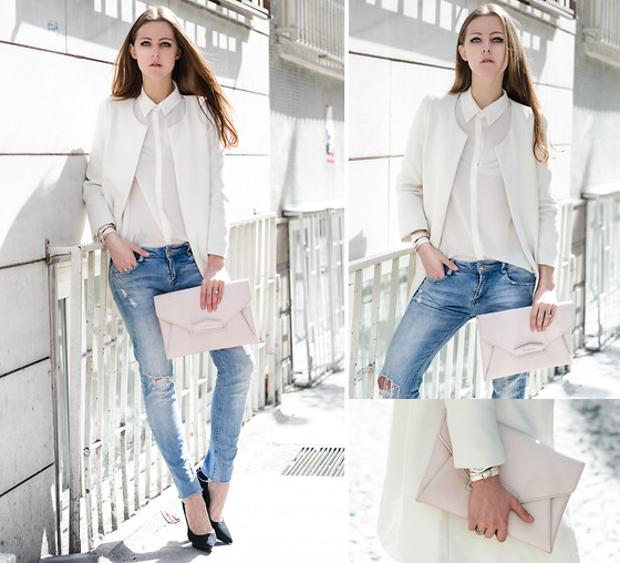 Katerina Kraynova - Givenchy Clutch, Zara Jeans, Sheinside Coat - White And Denim