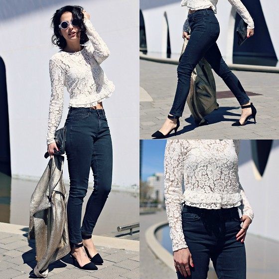 Milagros Plaza - Zara White Embroidery Top, Topshop Blue High Waited Denim Skinny Jeans - Embroidery