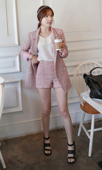 Miamiyu K - Miamasvin Peak Lapel Tweed Jacket, Miamasvin V Neck Long Sleeve Blouse, Miamasvin High Waist Tweed Shorts, Miamasvin Block Heel Platform Sandals - The Tweed Ensemble