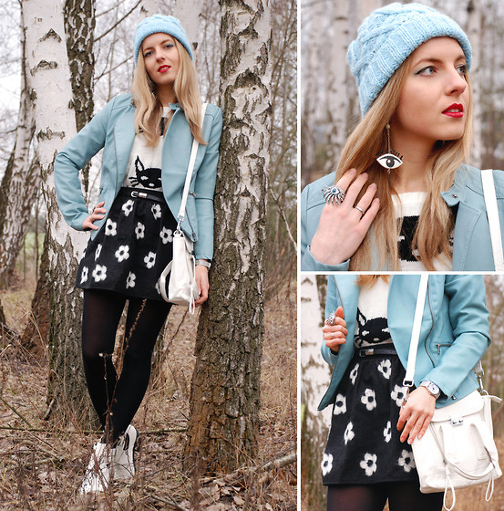 Iren P. - Asos Baby Blue Pastel Knit Beanie, Kenzo Inspired Eye Earrings, Stradivarius Baby Blue Pastel Biker Jacket, White Satchel Crossbody Shoulder Bag, Prada Ispired Daisy Printed Flare Skirt, New Look White Cut Out Ankle Boots - Baby Blue Daisy