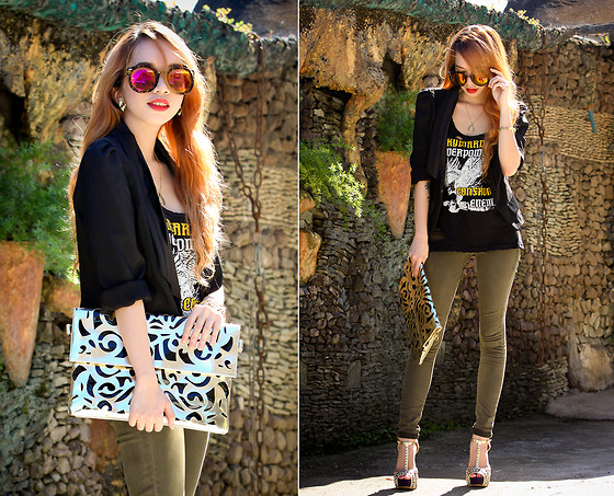 Wicked Ying NEW - Persun Clutch, Fly Shades Farrah Sunglasses, Memorata By Cln T Strap Heels, Topshop Skinny Pants - Queen of Disaster