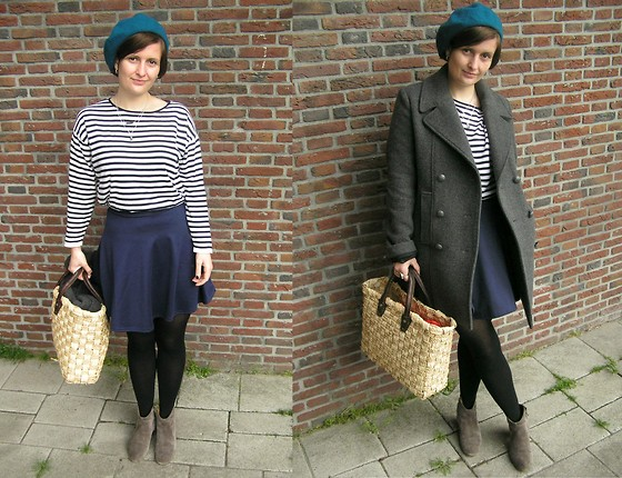 Angi G - Club L Skirt, Cos Knit, Isabel Marant Shoes, Maje Coat - French stripe..