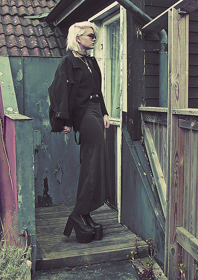 Malin Z - Alexandra Inn Cross Necklace, Monki Maxi Skirt, Unif Neo Boots - In lack of a better word