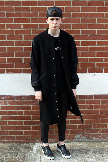 Joel Mcloughlin - Blackblessed Extra Long College Coat, Os Accessories Spine Necklace, Ebay White Platform Sole Brogues - Overjoyed