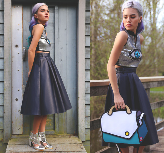 Alanna Durkovich - Radpopsicles Dj Eye On You Top, Chic Wish Leather Midi Skirt, Nasty Gal Metallic Boots, Jumpfrompaper 'Cheers' Bag - Eye Love Playful Fashion