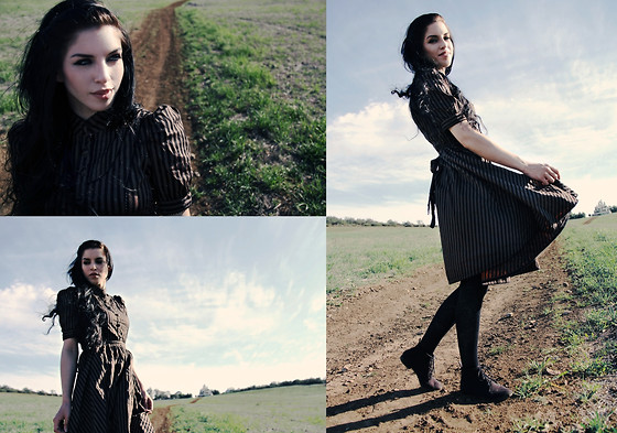 Melina DeSantiago - Hell Bunny Victorian Gothic Steampunk Brown And Black Striped Dress, Lisskiss Black Embellished Floral Tights, Divided Faux Suede Black Oxfords - Road to Nowhere