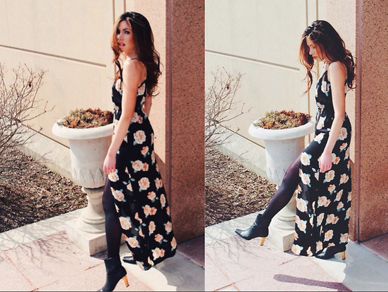 maxi dress with booties