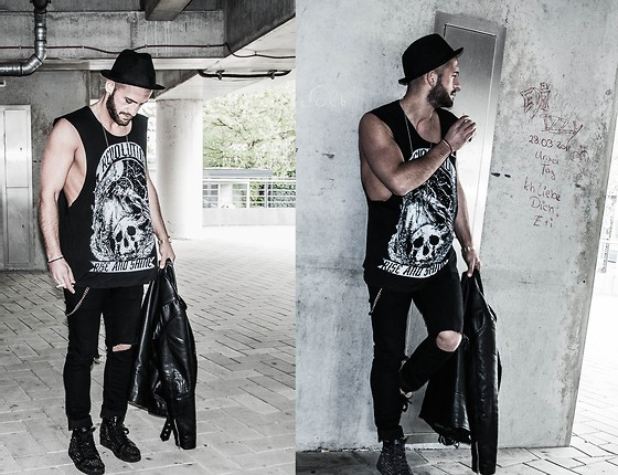 Kosta Williams - H&M Tanktop, H&M Hat, Custom Super Slim Skinny (Custom Made), Christian Louboutin, Sl Paris Biker Jacket - Rock `N rolla