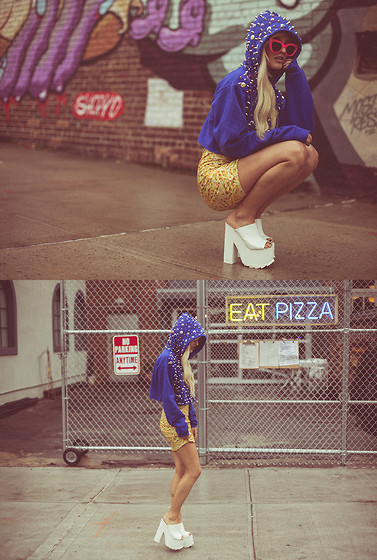 Rachel Lynch - Nylon Shop Monster Hoodie, Our Prince Of Peace Fries Dress, Yru White Platforms - I HATE BLONDE X NYLON