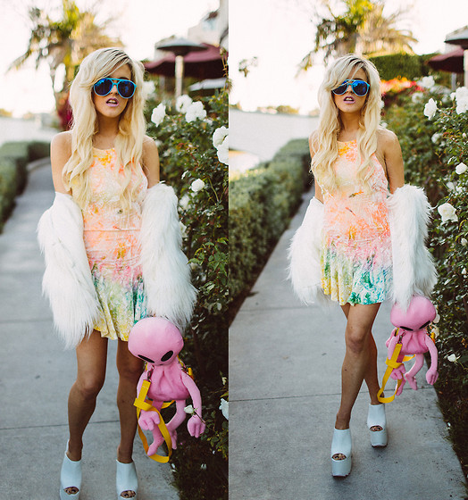 Rachel Lynch - Wildfox Couture Blue Aviators, Unif Rainbow Skater Dress, Dolls Kill Pink Alien Bag - Blonde rainbow alien
