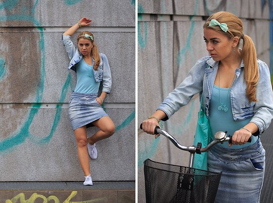 Katarzyna Gorlej - Troll Skirt, Vero Moda Jacket, Cubus Top, Centro Headband, Cropp Pendant, Cropp Sneakers - BIG (BIKE) CITY LIFE