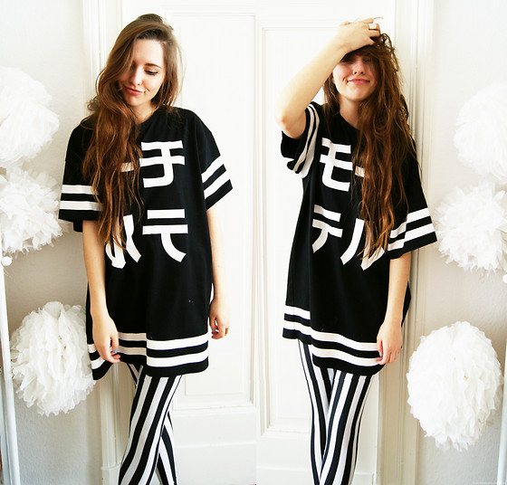 Diana K - Romwe Black And White Stripe Leggings, Motel Rocks Shirt - ZEBRAKID