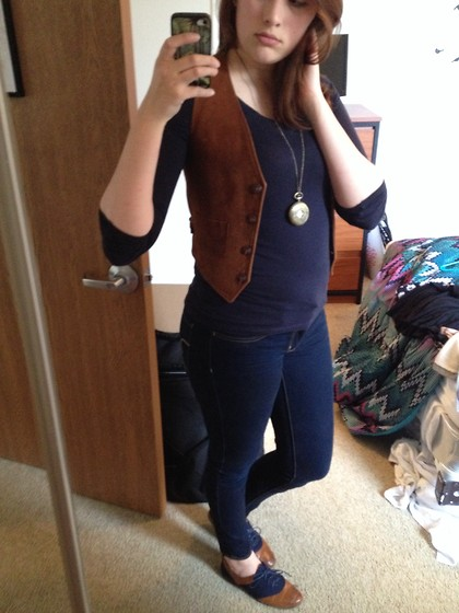 Kelly B - Vintage Suede Vest, Dsw Navy And Brown Oxfords, Pocket Watch Necklace - The Student