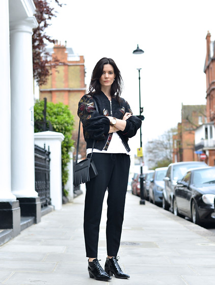 Hedvig ... - Dries Van Noten Silk Bomber, Studio Nicholson Trousers, Acne Studios T Shirt, Miu Boots, Acne Studios Bag - Black cat