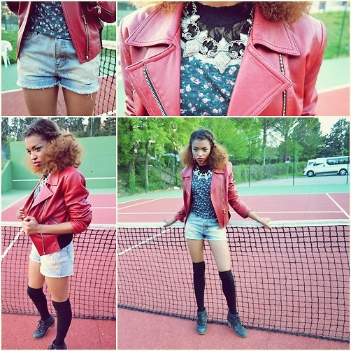 L'Albertina - Jennyfer Shorts, Jean Paul Gaultier Vest, H&M Necklace, Stradyvarious T Shirt - Tennis