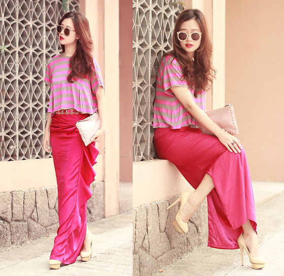 Mayo Wo - Karen Walker Filigree Sunnies, Free People Stripped Top, Virgos Lounge Embellished Maxi Skirt, Valentino Studded Clutch, Charlotte Olympia Golden Pumps - Radiant orchid & persian rose