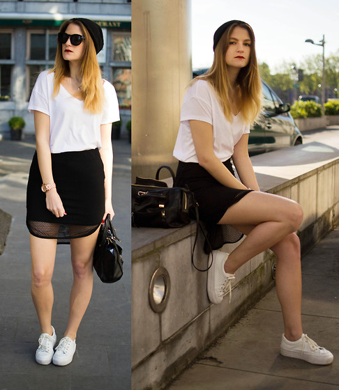 Catherine V. - H&M Beanie, Sunglasses, Zara Loose T Shirt, Black Mesh Asymetric Skirt, Asos Platform Shoes, Zara Mini City Bag - Simply black and white.