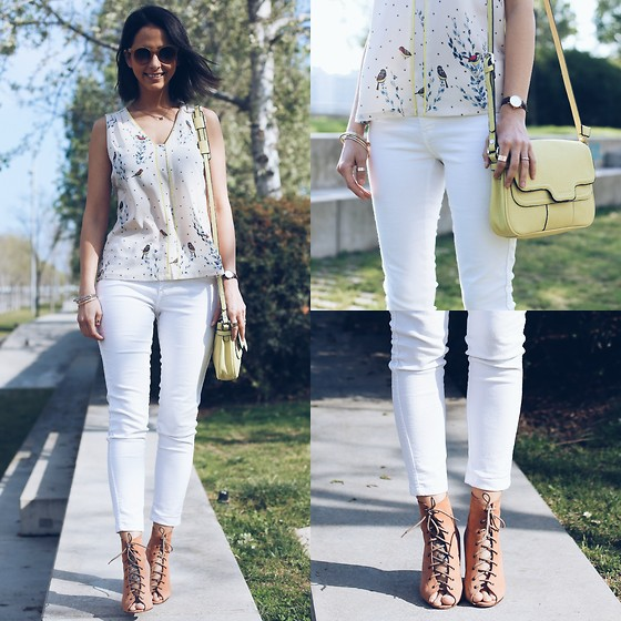 Milagros Plaza - Indi & Cold Bird Print Top, H&M White Skinny Crop Jeans, Indi & Cold Yellow Shoulder Bag, Catu Shoes Nude Lace Up - Spring parade