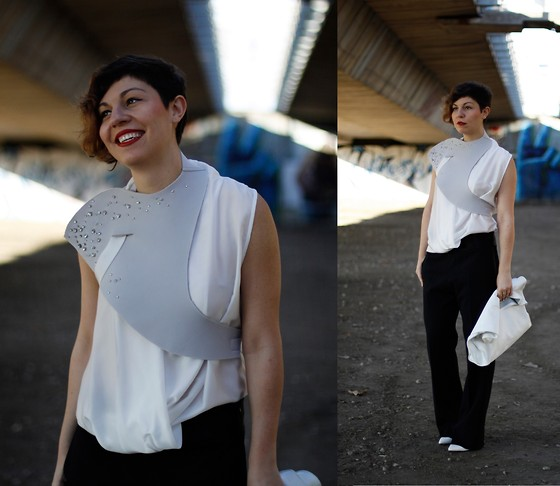Milica Stojsic - Self Made Diy Neoprene Body Wrap, Lindex Draping Top, Maison Martin Margiela Black Tuxedo Pants, Self Made Diy White Leather Lunch Bag, Mango White Wedges - Lights