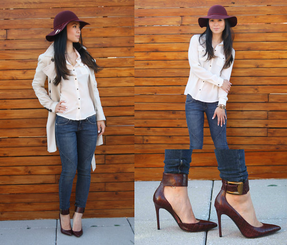 Tweety Ho - H&M Floppy Hat, Mexx Trench, Miss Sixty Jeans, Guess? Heels - A Touch of Burgundy