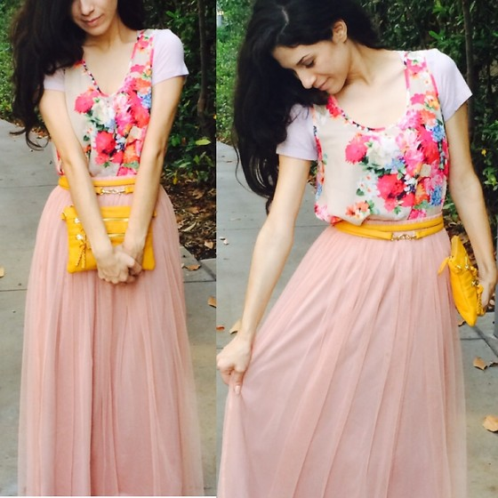 Stephanie Rami - Forever 21 Floral High Low Blouse, Steve Madden Mustard Clutch, P. Kid Chicks Rose Tulle Maxi Skirt - Floral princess