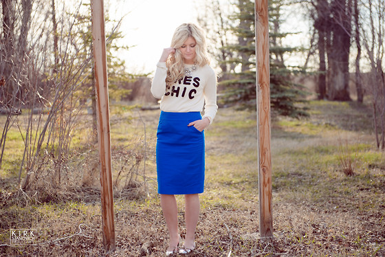 Chandler Roberson - J.Crew Pencil Skirt, Forever 21 Graphic Sweater, J.Crew Statement Necklace, Old Navy Silver Flats - Tres Chic