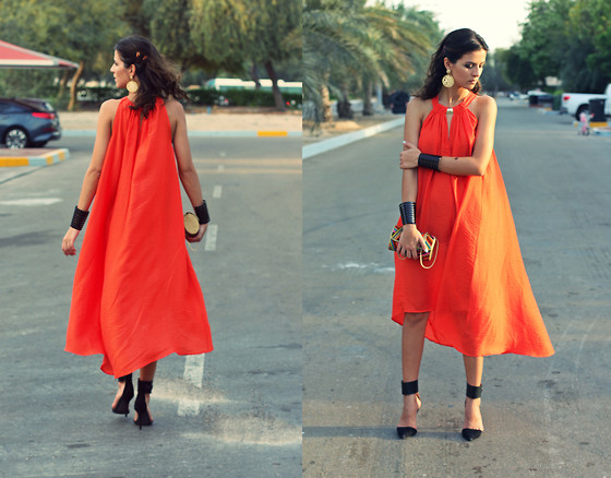 Susanna Vesna - H&M Orange Asymmetric Dress Conscious Collection, Iconic Black Cuffs, Dune Beaded Clutch, Zara Suede & Leather Heels - Dragon Fire