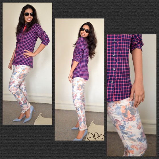 ACT Style - Banana Republic Pink Shirt, Nine West Shoes, Newyork & Company Printed Floral Pants - Mixing prints