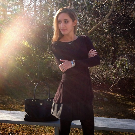 Michelle Orsi - Urban Outfitters Shirt, Zara Skirt, Tory Burch Bag - Black magic